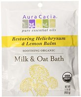 Aura Cacia Soothing Organic Milk and Oat Bath, Restoring Helichrysum and Lemon Balm, 1.75 ounce packet (Pack of 3)