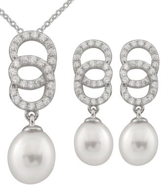 Splendid Pearls Rhodium Over Silver 7-8Mm Pearl Necklace & Earrings Set