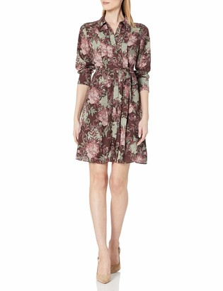 Nanette Lepore Nanette Women's Long Sleeve Wide Body Pleat Shirtdress with Belt Sash