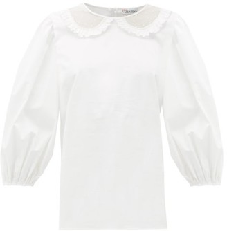 RED Valentino Tulle And Lace Collar Cotton Blouse - Womens - White