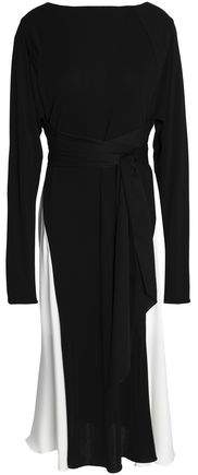 Vionnet Wrap-Effect Crepe De Chine-Paneled Silk-Jersey Dress