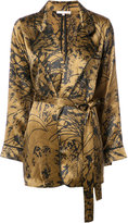 Gold Hawk embroidered wrap blouse