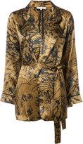 Gold Hawk printed wrap blouse