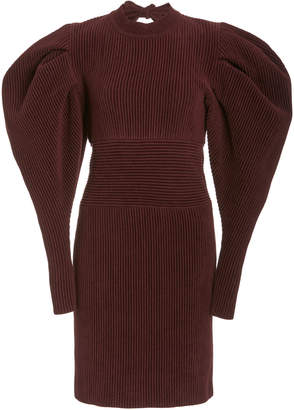 Oscar de la Renta Puff Sleeve Knit Mini Dress