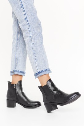 Nasty Gal Womens Snake the Stage Faux Leather Chelsea Boots - Black
