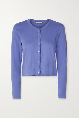 Ninety Percent Cropped Pointelle-knit Organic Cotton-jersey Cardigan - Purple