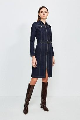 Karen Millen Long Sleeve Denim Zip Front Dress