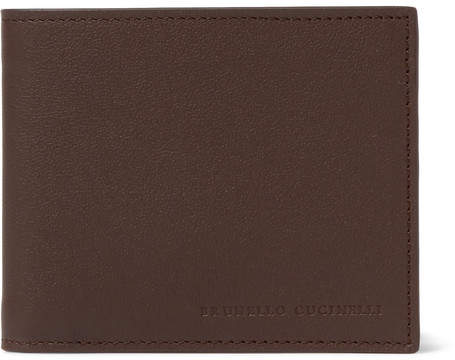 Brunello Cucinelli Full-Grain Leather Billfold Wallet - Men - Chocolate