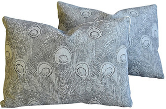 One Kings Lane Vintage Peacock Feather Linen Pillows - Set of 2 - gray/white/black/multi