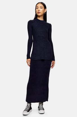 Topshop Womens **Chenille Top By Navy Blue