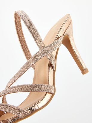Very Blanche Wide Fit Elastic Strappy Heel Sandal - Gold