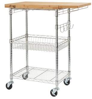 Trinity Expandable Surface Kitchen Cart with Solid Wood Top Base Finish: Chrome