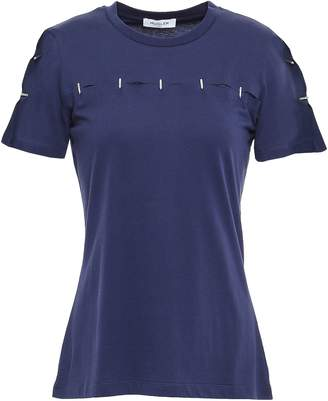 Thierry Mugler Cutout Embellished Cotton-jersey T-shirt