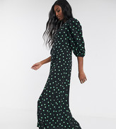 Asos Tall DESIGN Tall exclusive trapeze maxi dress with puff sleeve in polka dot
