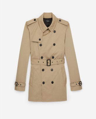 The Kooples Double-breasted short beige trench coat