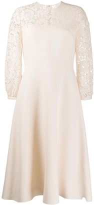 Valentino Lace Panelled Flared Dress