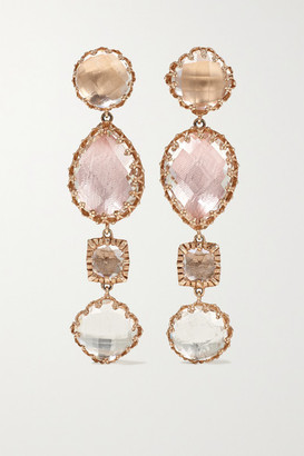 Larkspur & Hawk Sadie 14-karat Rose Gold-dipped Quartz Earrings - one size
