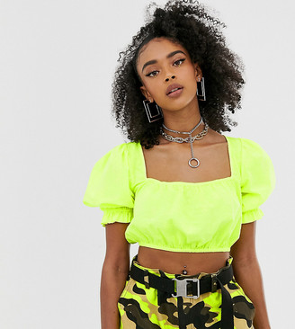 Collusion COLLUSION neon broderie crop top-Yellow