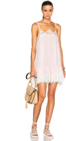 Chloé Smocked Georgette & Lace Dress