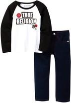 True Religion Raglan Patch Top & Jean Set (Toddler Boys)