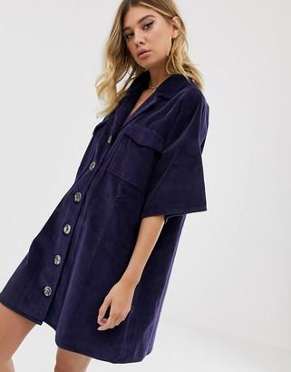 Asos Design DESIGN cord shirt dress in blue