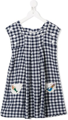 Stella McCartney Embroidered Mermaid Checked Dress