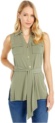 MICHAEL Michael Kors Sleeveless Button Front Tunic (Army Green) Women's Clothing