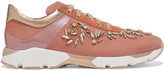 Rene Caovilla Embellished metallic paneled velvet sneakers