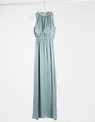 Little Mistress bridesmaid satin maxi dress with embellishment in cornflower