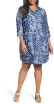 Foxcroft Plus Size Women's Bandana Print Tencel Shirtdress