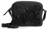Topshop Elise Floral Leather Crossbody Bag - Black