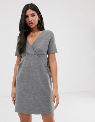 Asos Design DESIGN deep v super soft mini dress with concealed pockets-Grey