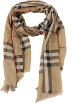 Burberry Checked Wool And Silk Blend Scarf