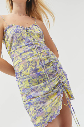 For Love & Lemons Maui Shirred Mini Dress