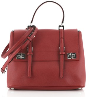 Prada Half Flap Double Turn Lock Satchel Saffiano Leather Large