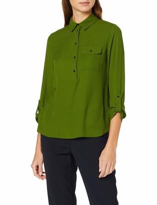 Dorothy Perkins Women's Green Roll Slv Shirt Regular Fit Shirt