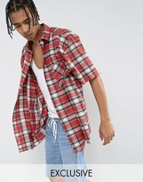 Reclaimed Vintage Inspired Oversized Shirt In Red Checked Flannel