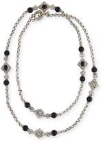 "Konstantino Carved Sterling Silver & Black Onyx Station Necklace, 36""L"
