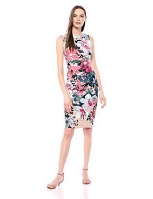 Gabby Skye Women's Floral Print Midi Sheath Dress