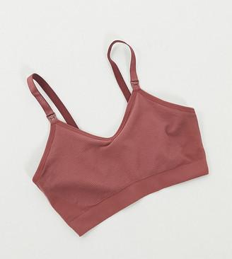 ASOS DESIGN Maternity seamfree nursing bra in dusty pink