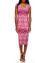 London Times London Style Collection Cap-Sleeve Snake-Print Midi Sheath Dress