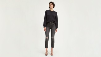 Levi's 724 High Rise Straight Crop Ripped Women's Jeans