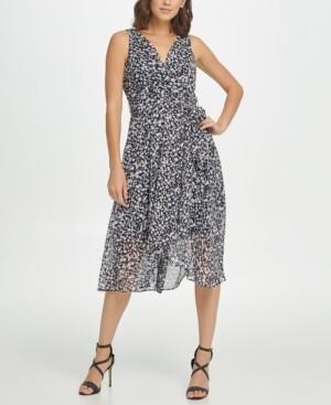 DKNY Printed Sleeveless Faux Wrap Dress