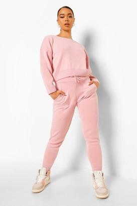 boohoo Slash Neck Cropped Knitted Set