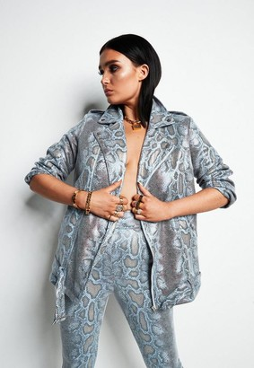 Missguided Lissy Roddy X Blue Snake Print Biker Jacket