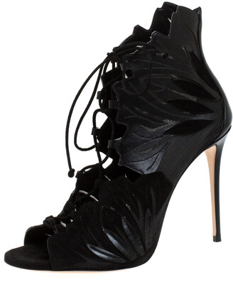 Casadei Black Laser Cut Mesh, Suede and Leather Peep Toe Lace Up Booties Size 40