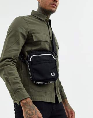 Fred Perry taped logo crossbody bag in black