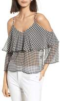 Ten Sixty Sherman Gingham Cold Shoulder Top