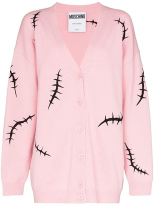 Moschino Embroidered Stitch Motif Cardigan