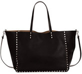 Valentino Medium Double Rockstud Reversible Tote Bag, Black/Bright Cuir